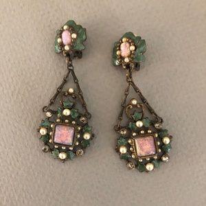 Vintage faux opal dangle drop earrings Victorian